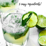 """cocktail with text """"tequila smash, 5 easy ingredients!"""""""