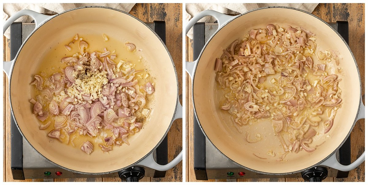 two pictures of shallots and garlic being sautéed in a pot