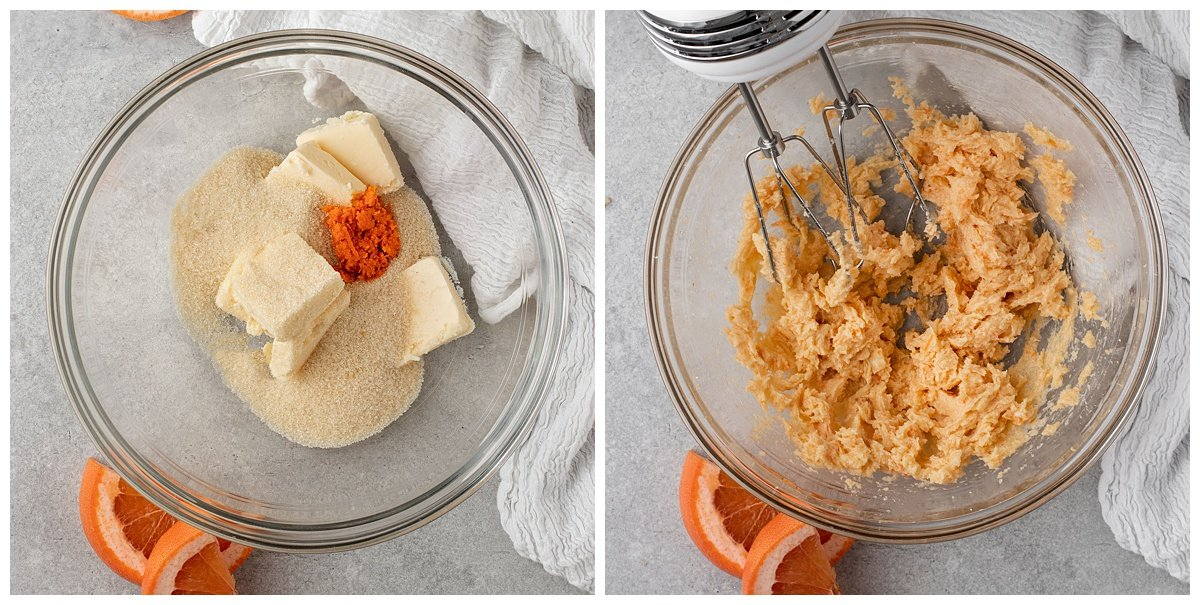 two pictures of vegan butter sugar and grapefruit zest in mixing bowl
