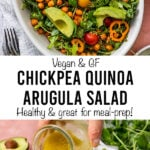 "salad with ""vegan & GF chickpea quinoa arugula salad, healthy & great for meal-prep!""."