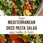 "orzo salad with text ""vegan mediterranean orzo pasta salad, easy, healthy, & fresh!""."
