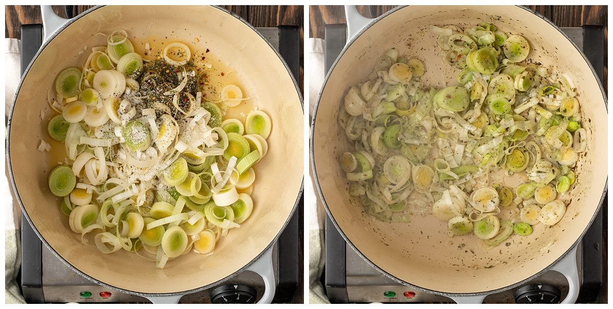 two pictures cooking leeks and spices in large pot