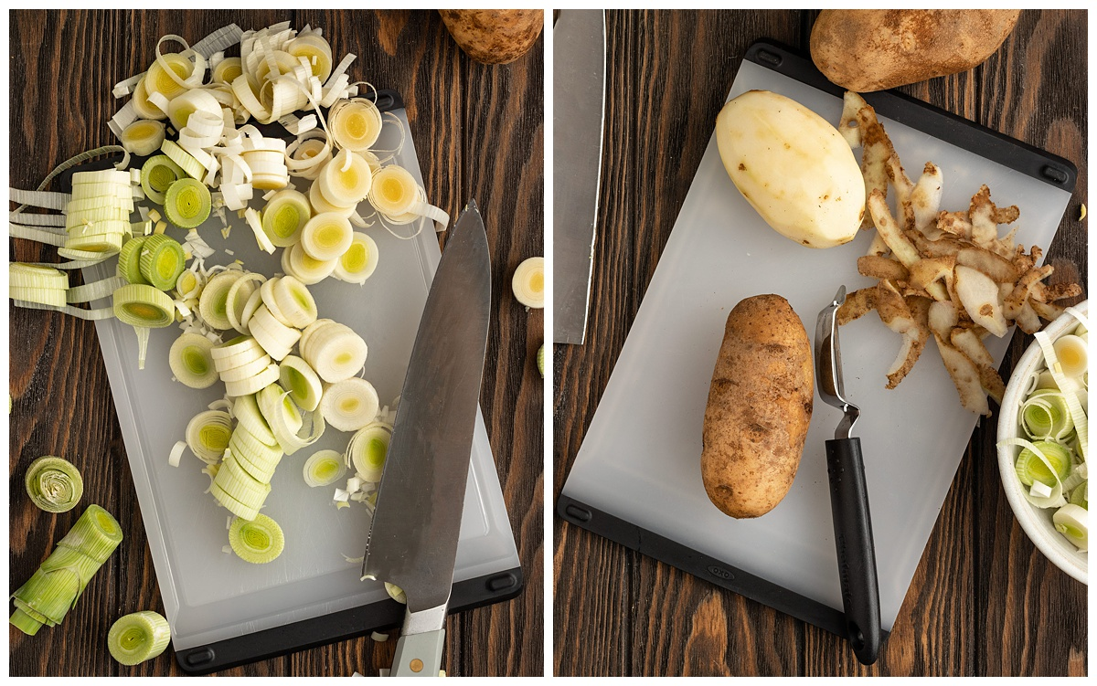 two pictures of leeks being diced and potatoes being peeled and chopped